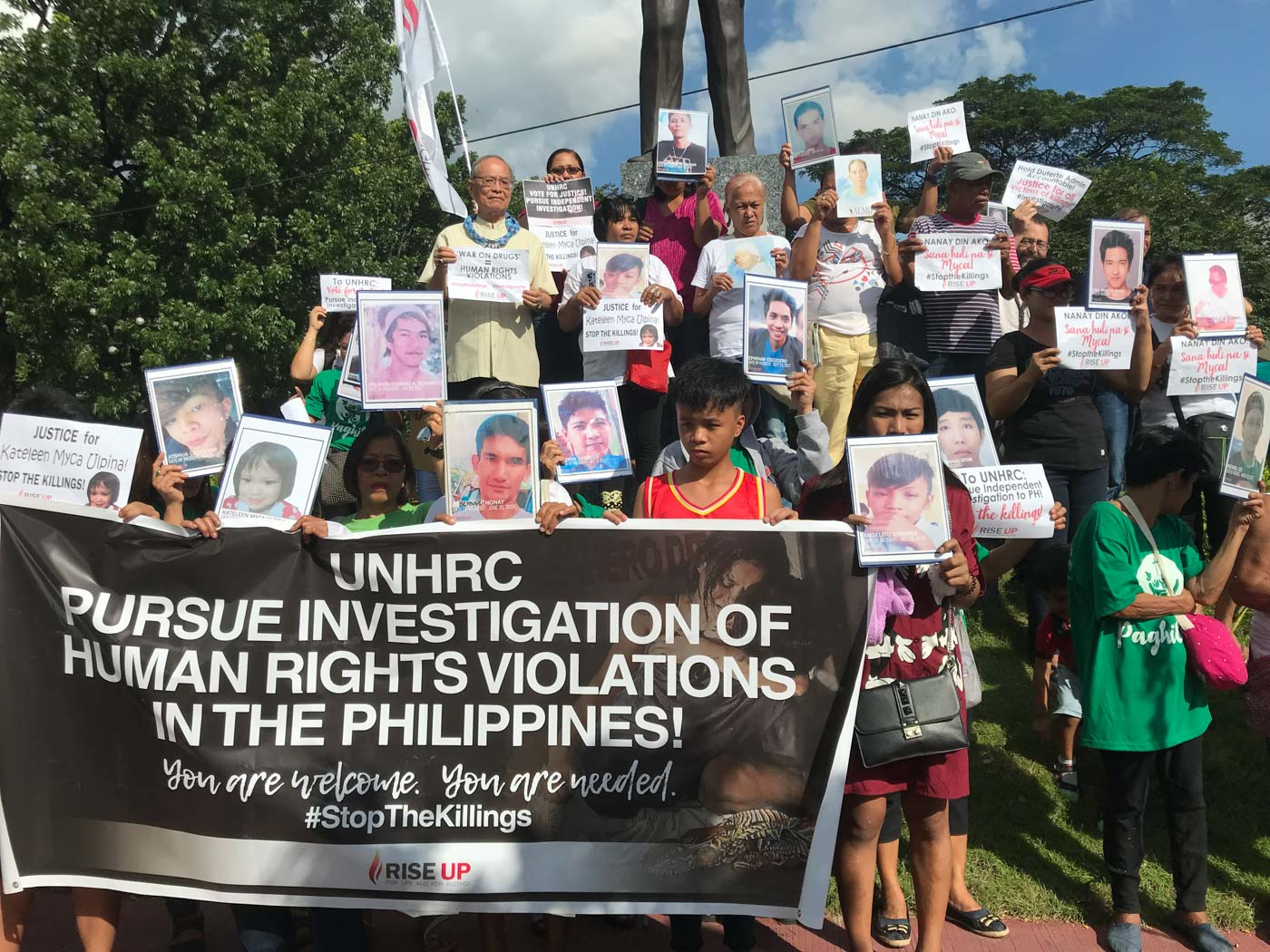 JUSTICE. Families of victims of extraudicial killings call on international mechanisms against the drug war killings. File photo by Micah Guiao/Rappler