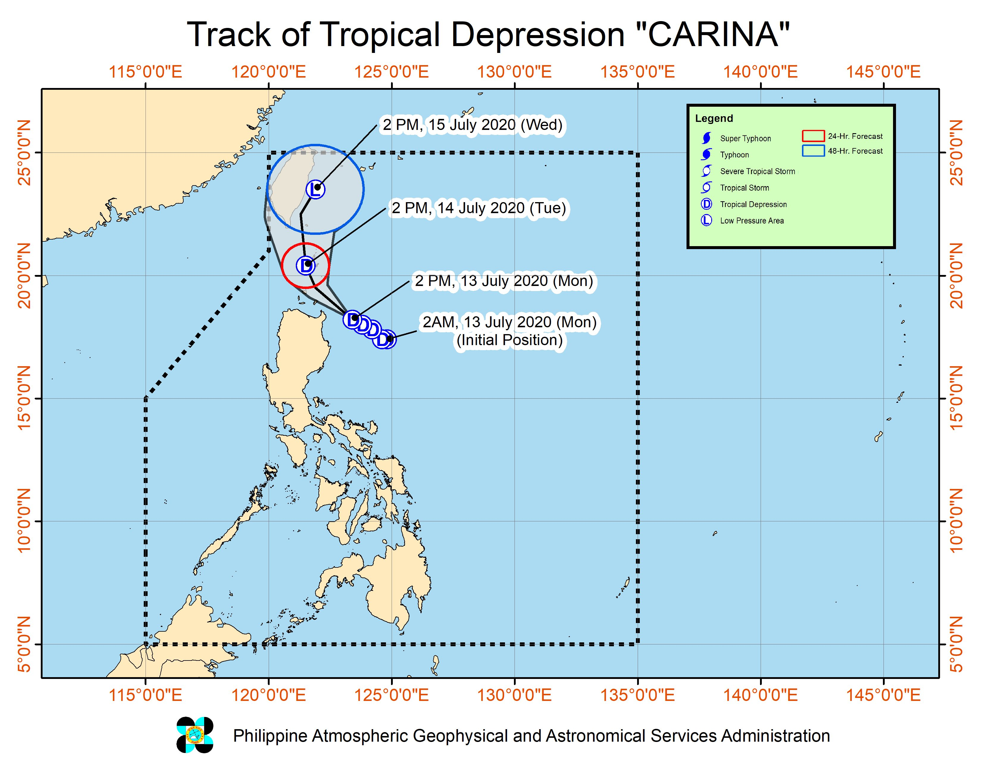 Forecast track of Tropical Depression Carina as of July 13, 2020, 5 pm. Image from PAGASA
