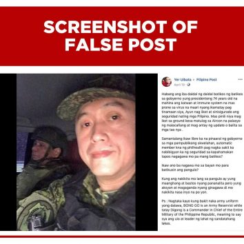 screenshot of facebook post with frame indicating it is a false post