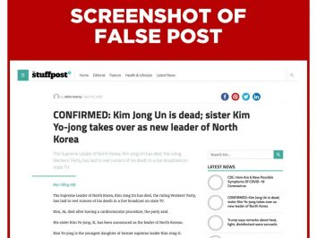 screenshot of false post on death of kim jong un