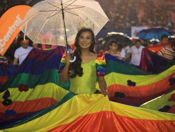 2019 Metro Manila Pride March participant in rainbow gown