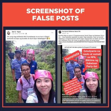 Screenshots of false posts claiming Sarah Elago wears hammer-and-sickle bandana