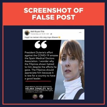 Screenshot of false post Spain Medical Doctors Association fake quote