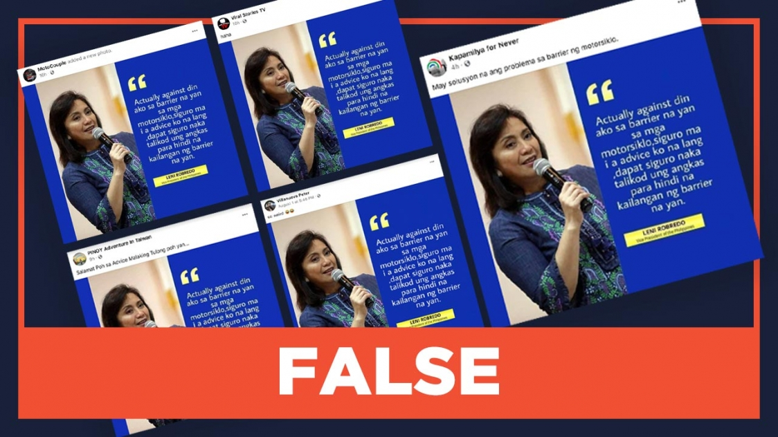 FALSE: Robredo says motorcycle passengers should face backward thumbnail