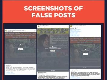Screenshots of false posts