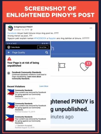 Screenshot of Enlightened PINOY's post