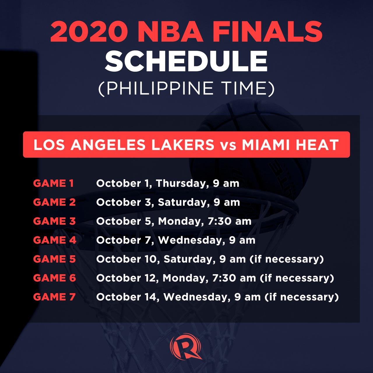 Schedule 2020 Nba Finals Philippine Time