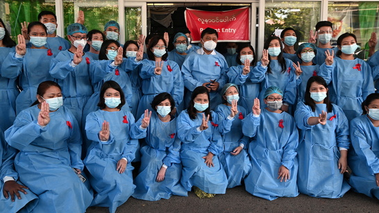 Myanmar doctors stop work to protest coup as UN considers response