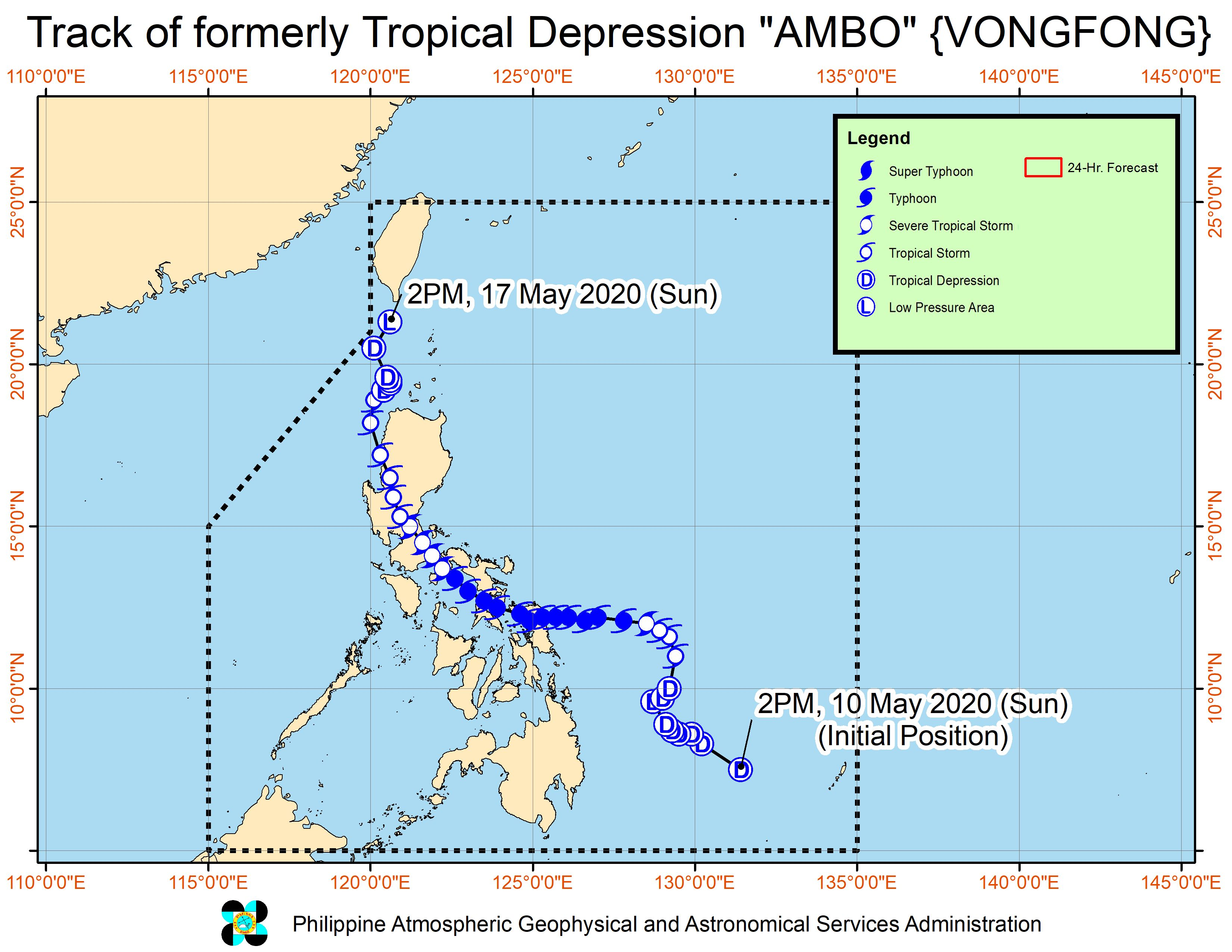 Forecast track of the low pressure area which used to be Ambo (Vongfong), as of May 17, 2020, 5 pm. Image from PAGASA
