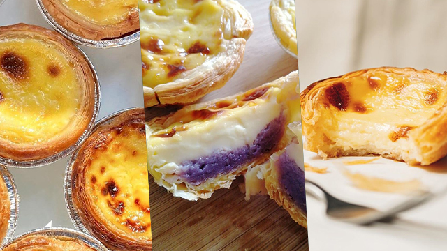 EGG TARTS. Several home-based bakeries are selling the Portugese egg tart treat, even in ube flavor. Photos from GATS Premium Egg Tarts, Tarts Tita