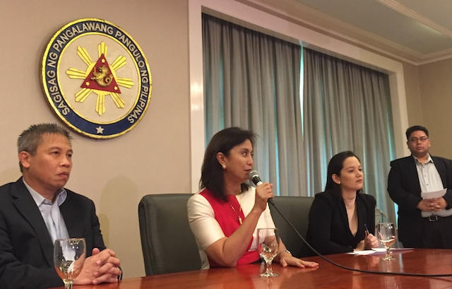 FOREIGN ASSISTANCE. Vice President Leni Robredo (2nd from left) highlights the importance of good foreign relations from the perspective of the anti-poverty sector in a news conference on October 5, 2016. Photo by Patty Pasion/Rappler