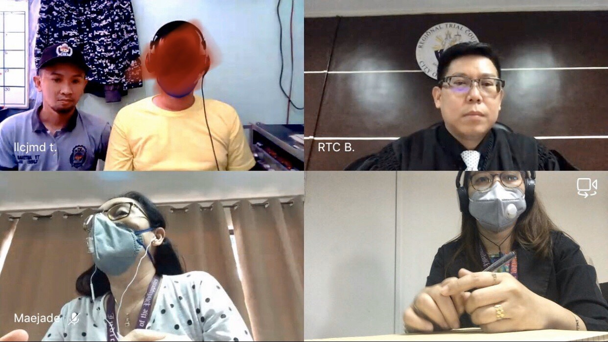 VIRTUAL HEARING. One of the pilot courts conduct a virtual hearing as Philippines remains on variying forms of lockdown to contain the coronavirus pandemic. Photo courtesy of the Supreme Court