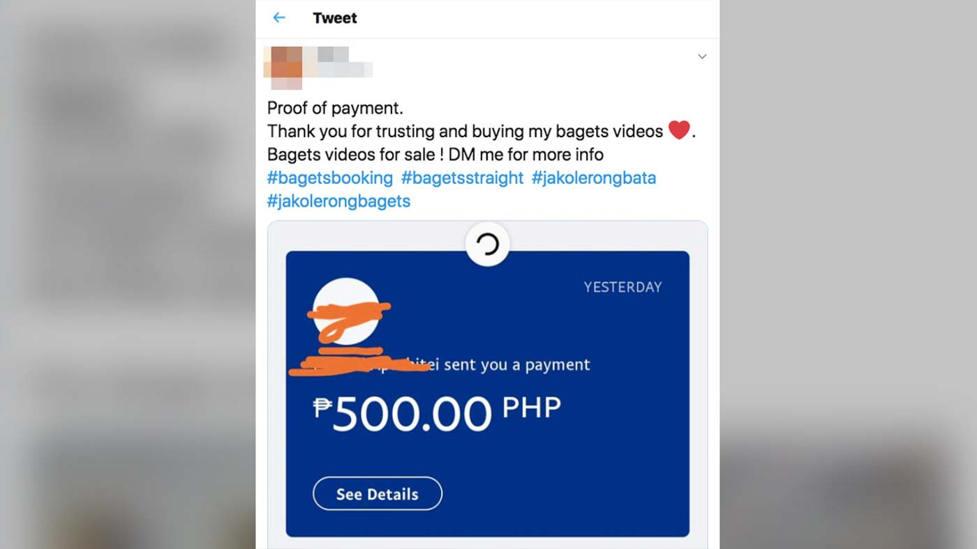 PROOF. An account posts proof of transaction. Rappler Screenshot