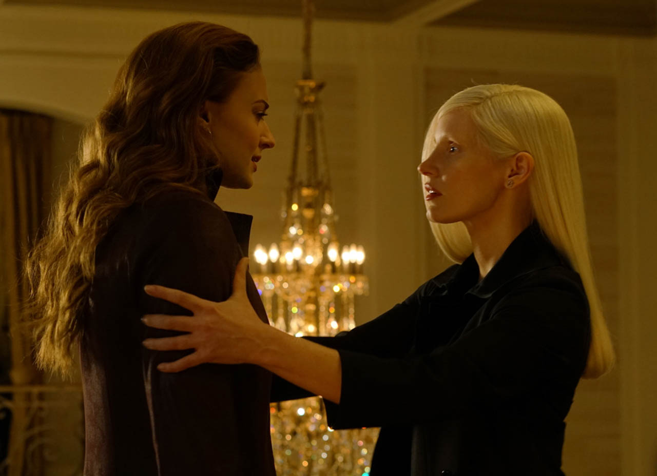 TROUBLED. Jessica Chastain and Sophie Turner.