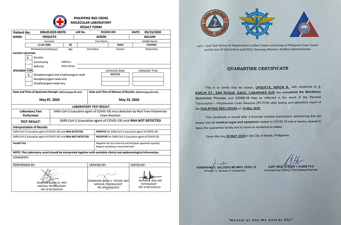 DOCUMENTS. A copy of test results and a quarantine certificate are necessary documents OFWs need to return home. Photo courtesy of Aeron Orqueta