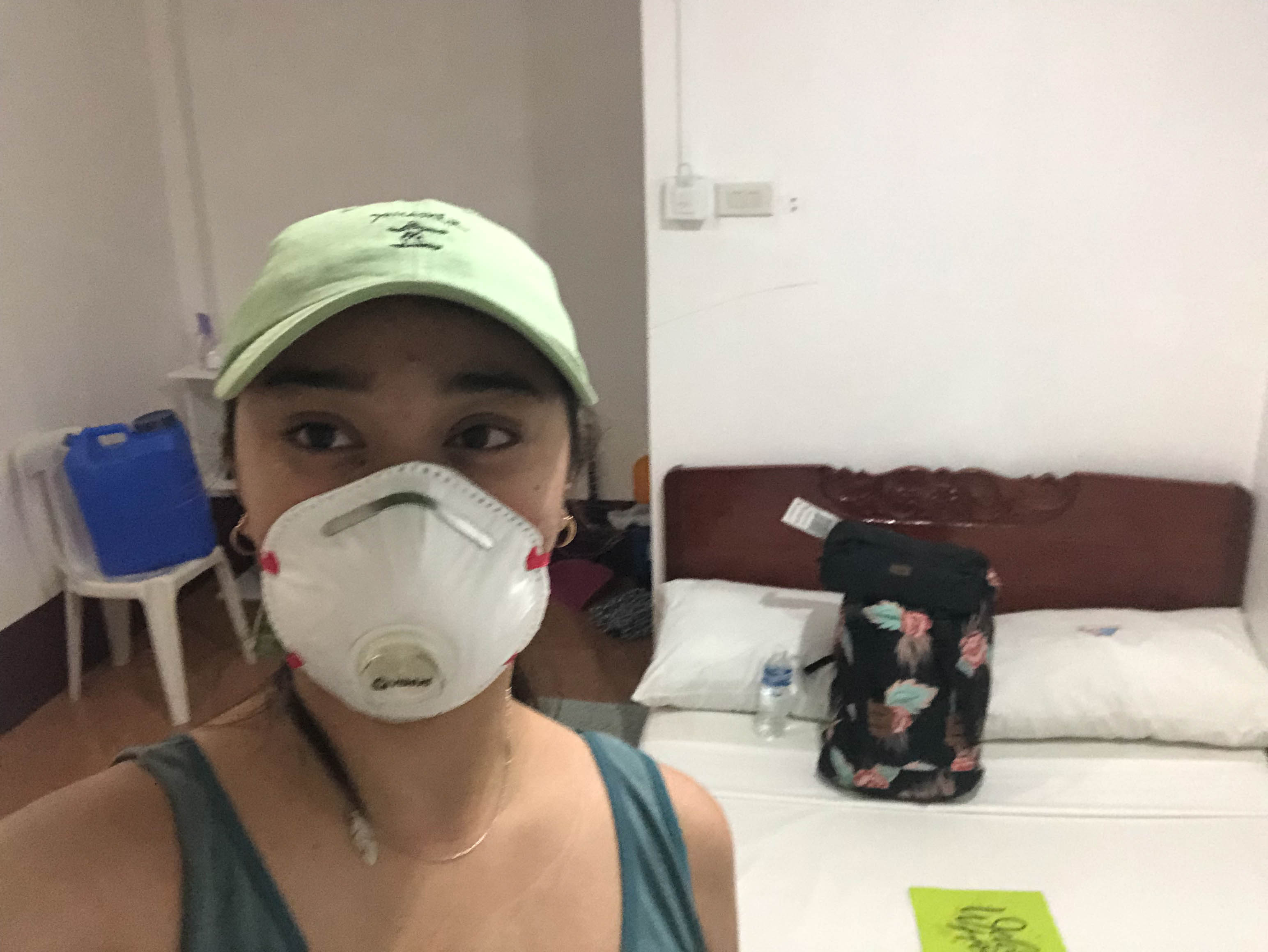 COOPED UP. Krisa Joy Mangilog spends nearly a month in a windowless room in a Quezon City motel. When she arrives in Ibajay, Aklan, she is again placed in quarantine for another 14 days in this room at a beach resort. Photo courtesy of Mangilog